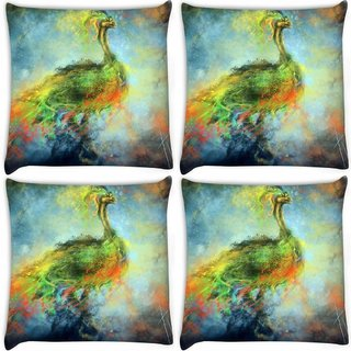 Snoogg Pack Of 4 Mysterious Peacock Digitally Printed Cushion Cover Pillow 10 x 10 Inch