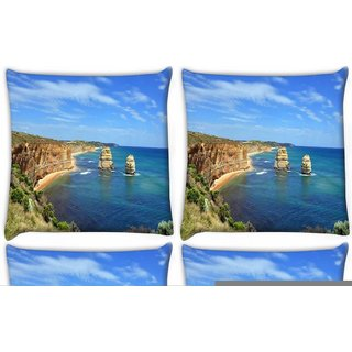 Snoogg Pack Of 4 Abstract Ocean View Digitally Printed Cushion Cover Pillow 10 x 10 Inch