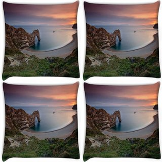 Snoogg Pack Of 4 Amazing Ocean View Digitally Printed Cushion Cover Pillow 10 x 10 Inch