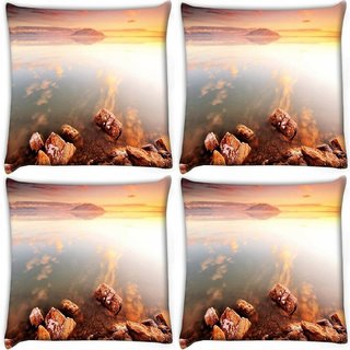 Snoogg Pack Of 4 Big Rocks In Ocean Digitally Printed Cushion Cover Pillow 10 x 10 Inch