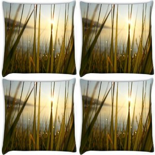 Snoogg Pack Of 4 Green Grass Dew Digitally Printed Cushion Cover Pillow 10 x 10 Inch
