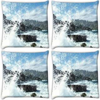 Snoogg Pack Of 4 Water Waves Hitting The Shore Digitally Printed Cushion Cover Pillow 10 x 10 Inch