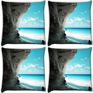 Snoogg Pack Of 4 Beach Side Place Digitally Printed Cushion Cover Pillow 10 x 10 Inch