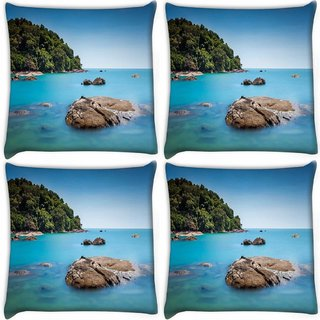 Snoogg Pack Of 4 Rocks In The Ocean Digitally Printed Cushion Cover Pillow 10 x 10 Inch