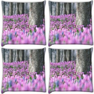 Snoogg Pack Of 4 Pink Flowers Digitally Printed Cushion Cover Pillow 10 x 10 Inch
