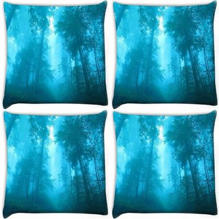 Snoogg Pack Of 4 Blue Forest Digitally Printed Cushion Cover Pillow 10 x 10 Inch