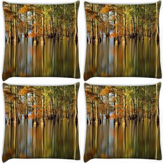 Snoogg Pack Of 4 Water In Forest Digitally Printed Cushion Cover Pillow 10 x 10 Inch