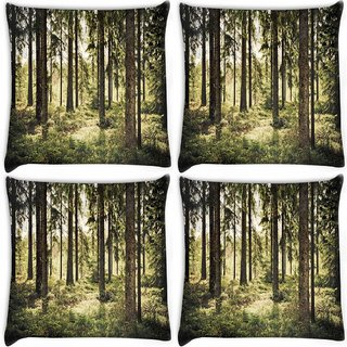 Snoogg Pack Of 4 Scary Forest Digitally Printed Cushion Cover Pillow 10 x 10 Inch