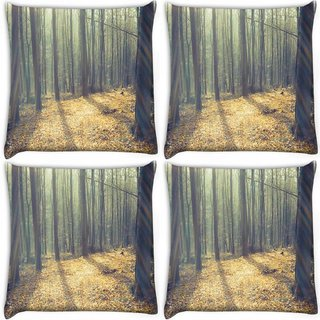 Snoogg Pack Of 4 Focused Light In Forest Digitally Printed Cushion Cover Pillow 10 x 10 Inch