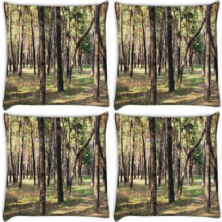 Snoogg Pack Of 4 Summer Forest Digitally Printed Cushion Cover Pillow 10 x 10 Inch