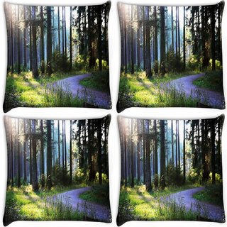 Snoogg Pack Of 4 Road In Forest Digitally Printed Cushion Cover Pillow 10 x 10 Inch