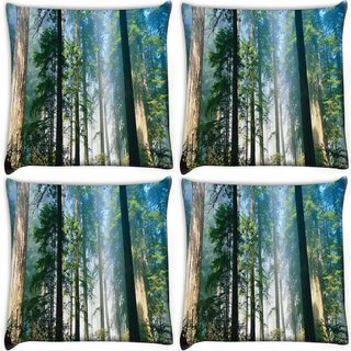 Snoogg Pack Of 4 Long Trees Digitally Printed Cushion Cover Pillow 10 x 10 Inch
