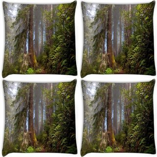 Snoogg Pack Of 4 Forest Digitally Printed Cushion Cover Pillow 10 x 10 Inch