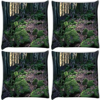 Snoogg Pack Of 4 Dried Leaves In Forest Digitally Printed Cushion Cover Pillow 10 x 10 Inch