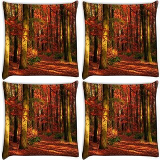 Snoogg Pack Of 4 Red Leaves Digitally Printed Cushion Cover Pillow 10 x 10 Inch