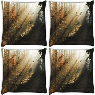 Snoogg Pack Of 4 Dark Forest Digitally Printed Cushion Cover Pillow 10 x 10 Inch
