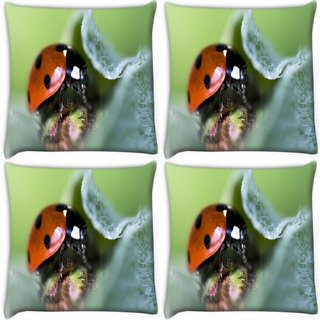 Snoogg Pack Of 4 Dangerous Beatel Digitally Printed Cushion Cover Pillow 10 x 10 Inch