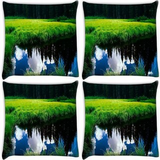 Snoogg Pack Of 4 Clouds On Water Digitally Printed Cushion Cover Pillow 10 x 10 Inch