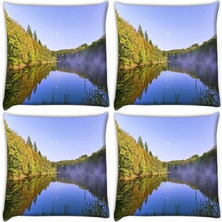 Snoogg Pack Of 4 River And Forest Digitally Printed Cushion Cover Pillow 10 x 10 Inch