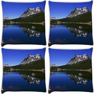 Snoogg Pack Of 4 Black Mountain Digitally Printed Cushion Cover Pillow 10 x 10 Inch