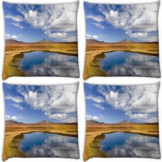 Snoogg Pack Of 4 Brown Surface Digitally Printed Cushion Cover Pillow 10 x 10 Inch