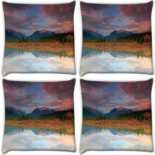 Snoogg Pack Of 4 Red Clouds Digitally Printed Cushion Cover Pillow 10 x 10 Inch
