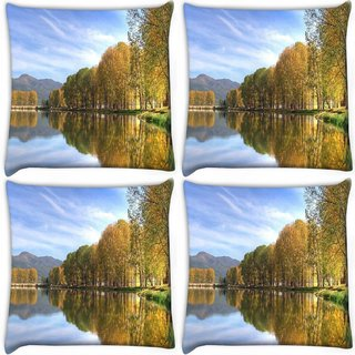 Snoogg Pack Of 4 Blossom Trees Digitally Printed Cushion Cover Pillow 10 x 10 Inch