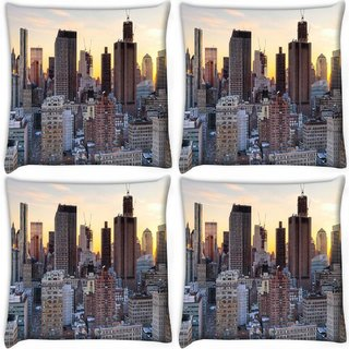Snoogg Pack Of 4 Brown Building Digitally Printed Cushion Cover Pillow 10 x 10 Inch