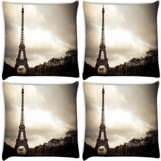 Snoogg Pack Of 4 Wonder Of The World Digitally Printed Cushion Cover Pillow 10 x 10 Inch