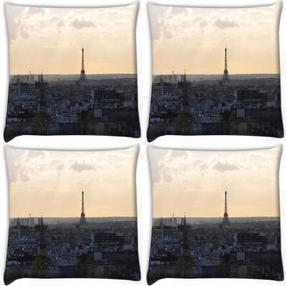 Snoogg Pack Of 4 Paris City Digitally Printed Cushion Cover Pillow 10 x 10 Inch