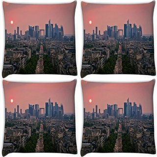 Snoogg Pack Of 4 Green Roads In City Digitally Printed Cushion Cover Pillow 10 x 10 Inch