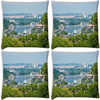 Snoogg Pack Of 4 Clean City Digitally Printed Cushion Cover Pillow 10 x 10 Inch