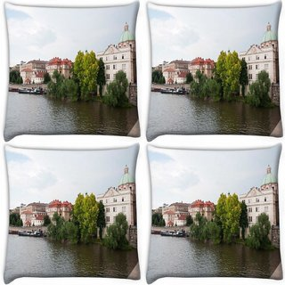 Snoogg Pack Of 4 Lake Side Houses Digitally Printed Cushion Cover Pillow 10 x 10 Inch