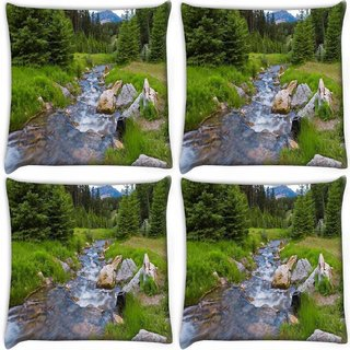 Snoogg Pack Of 4 Water Flowing Through The Garden Digitally Printed Cushion Cover Pillow 10 x 10 Inch