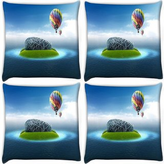 Snoogg Pack Of 4 Colorful Parchute Digitally Printed Cushion Cover Pillow 10 x 10 Inch