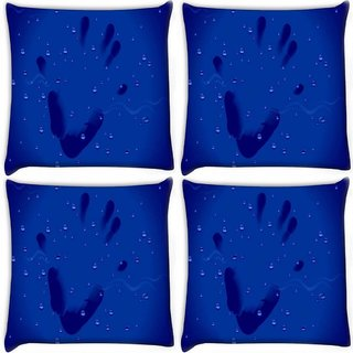 Snoogg Pack Of 4 Hand Print Digitally Printed Cushion Cover Pillow 10 x 10 Inch