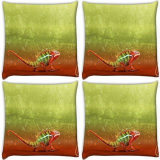 Snoogg Pack Of 4 Red Chameleon Digitally Printed Cushion Cover Pillow 10 x 10 Inch