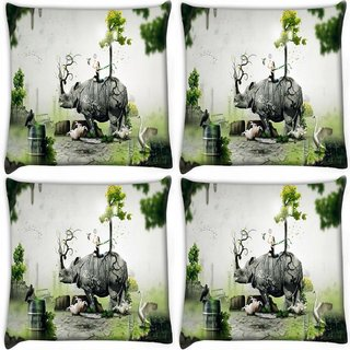 Snoogg Pack Of 4 Abstract Rhino Digitally Printed Cushion Cover Pillow 10 x 10 Inch