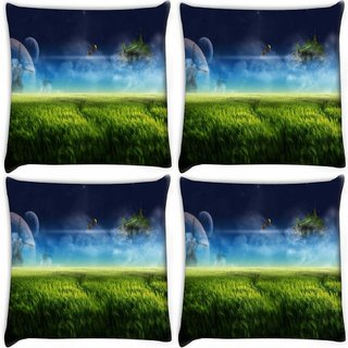 Snoogg Pack Of 4 Nautre Of Grass Digitally Printed Cushion Cover Pillow 10 x 10 Inch