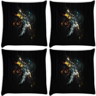 Snoogg Pack Of 4 Multicolor Abstract Design Digitally Printed Cushion Cover Pillow 10 x 10 Inch