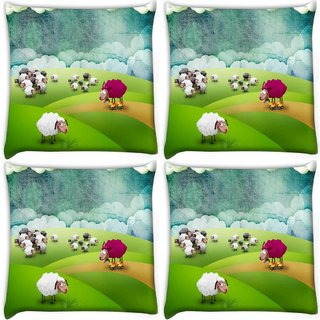 Snoogg Pack Of 4 Crazy Sheep Digitally Printed Cushion Cover Pillow 10 x 10 Inch