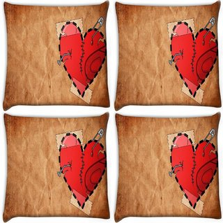Snoogg Pack Of 4 Broken Heart Digitally Printed Cushion Cover Pillow 10 x 10 Inch