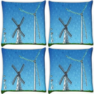 Snoogg Pack Of 4 Windmill Digitally Printed Cushion Cover Pillow 10 x 10 Inch