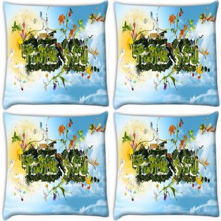 Snoogg Pack Of 4 Thank You Digitally Printed Cushion Cover Pillow 10 x 10 Inch