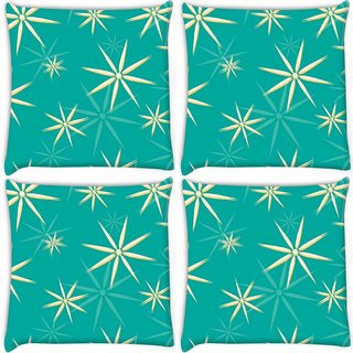 Snoogg Pack Of 4 Abstract White Blue Pattern Digitally Printed Cushion Cover Pillow 10 x 10 Inch