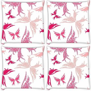 Snoogg Pack Of 4 Big Unique Butterfly White Pattern Digitally Printed Cushion Cover Pillow 10 x 10 Inch