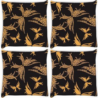 Snoogg Pack Of 4 Yellow Butterfly Black Pattern Digitally Printed Cushion Cover Pillow 10 x 10 Inch