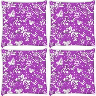 Snoogg Pack Of 4 I Love You Purple Pattern Digitally Printed Cushion Cover Pillow 10 x 10 Inch