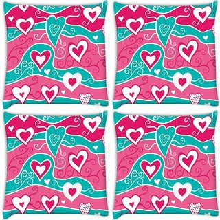 Snoogg Pack Of 4 Wavy Hearts Pattern Digitally Printed Cushion Cover Pillow 10 x 10 Inch
