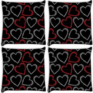 Snoogg Pack Of 4 Red And Grey Hearts Digitally Printed Cushion Cover Pillow 10 x 10 Inch